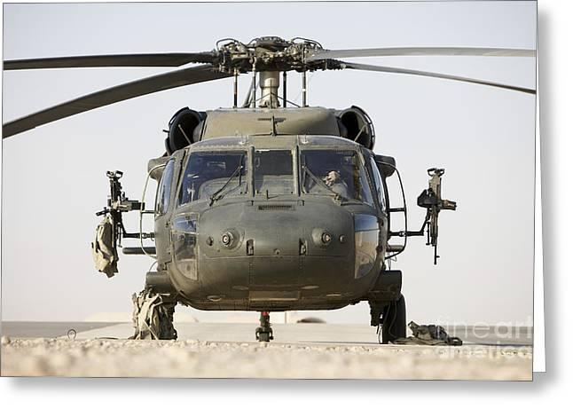 Copy Machine Greeting Cards - Front View Of A Uh-60l Black Hawk Greeting Card by Terry Moore