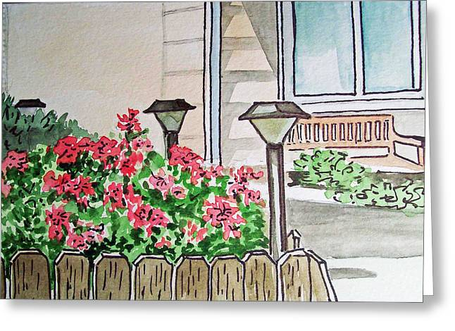 Sketch Book Greeting Cards - Front Yard Lights Sketchbook Project Down My Street Greeting Card by Irina Sztukowski