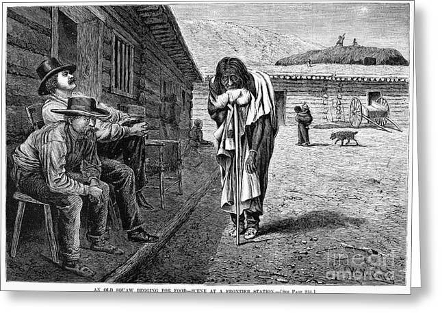 1876 Greeting Cards - Frontier Station: Beggar Greeting Card by Granger