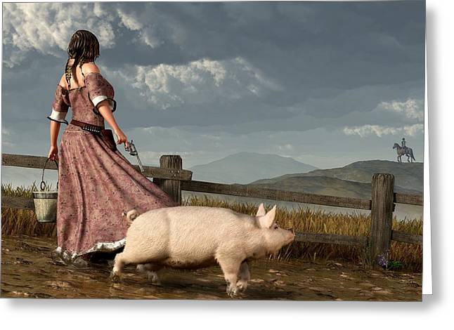 Black Pig Greeting Cards - Frontier Widow Greeting Card by Daniel Eskridge