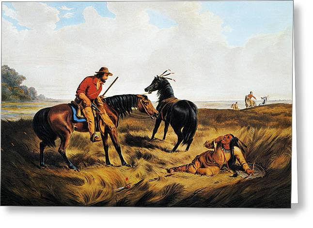 Destiny Greeting Cards - Frontiersman, 1856 Greeting Card by Granger