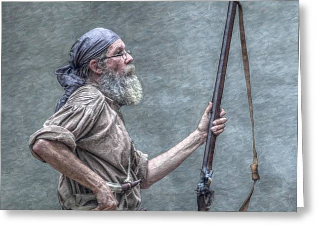 Seven Years War Greeting Cards - Frontiersman Face of Time Greeting Card by Randy Steele