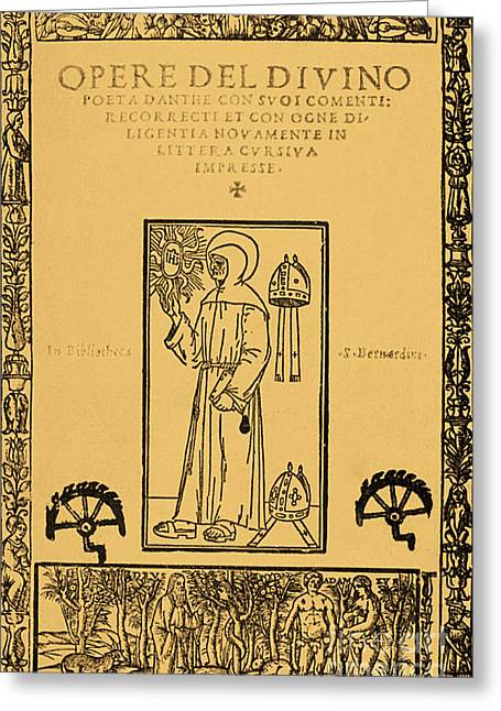 Divine Comedy Greeting Cards - Frontispiece From Dantes Divine Comedy Greeting Card by Photo Researchers