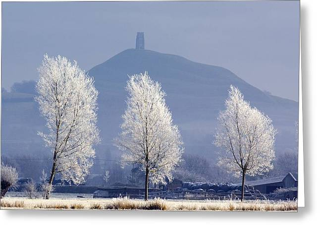 Tor Greeting Cards - Frost-covered Trees And Glastonbury Tor Greeting Card by Duncan Shaw