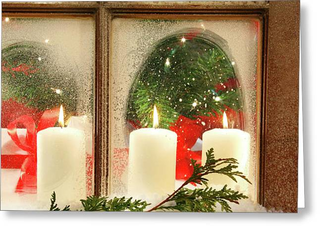 Frosted window Greeting Card by Sandra Cunningham