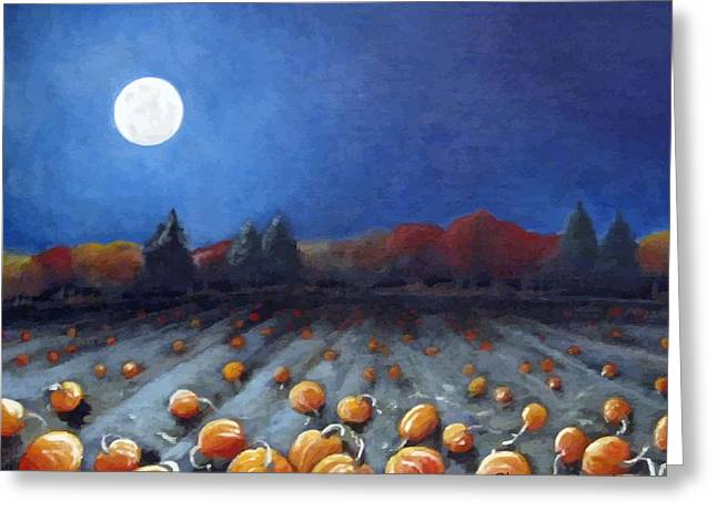 Frosty Harvest Moon Greeting Card by Sharon Marcella Marston