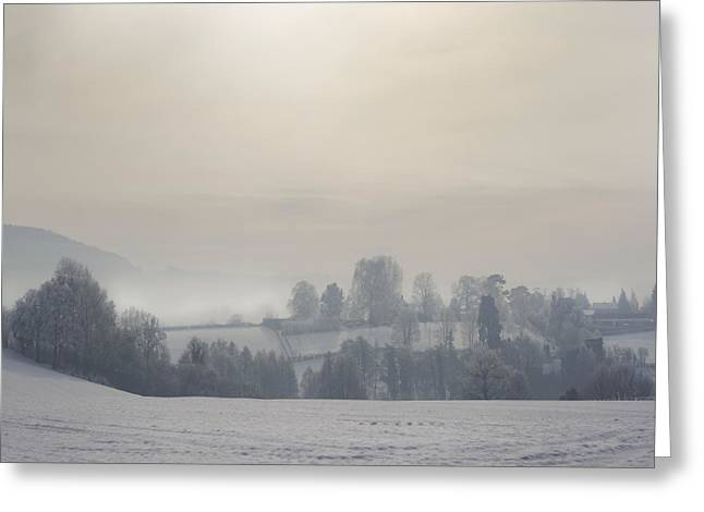 Foggy Day Greeting Cards - Frosty Landscape Greeting Card by Angel  Tarantella