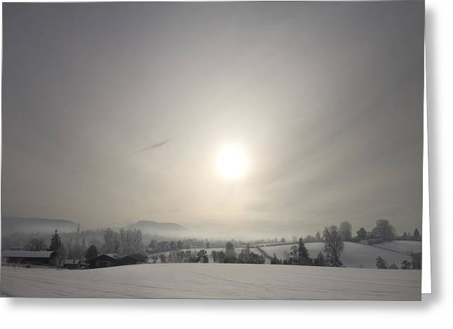 Foggy Day Greeting Cards - Frosty Midday Greeting Card by Angel  Tarantella