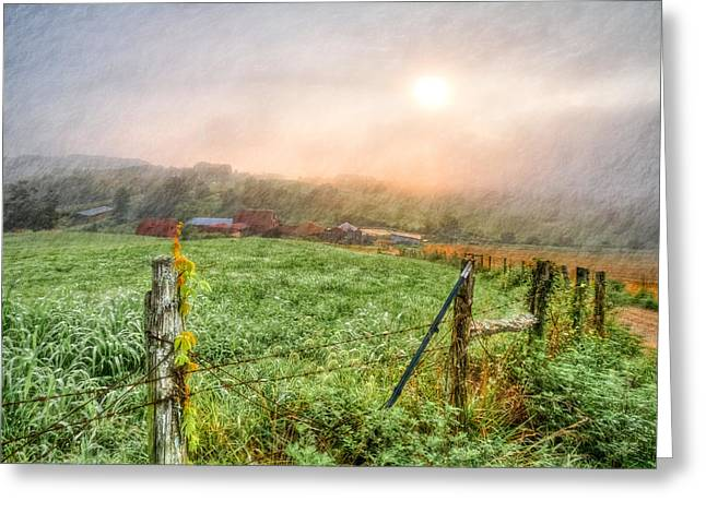 Fenceline Greeting Cards - Frosty Morn Greeting Card by Debra and Dave Vanderlaan