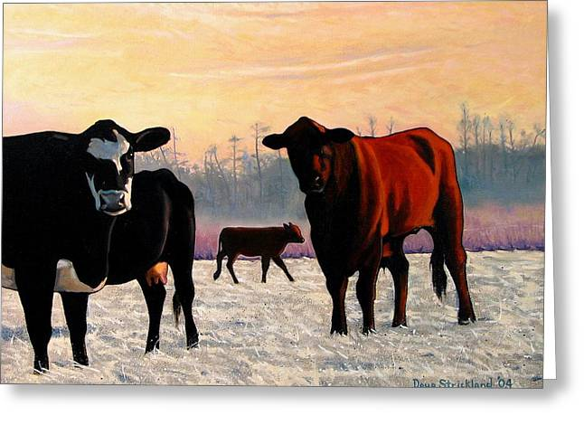 Steer Greeting Cards - Frosty Reception Greeting Card by Doug Strickland