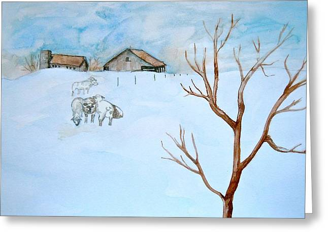 Water Color Greeting Cards - Frozen Farm Greeting Card by Sharon Mick