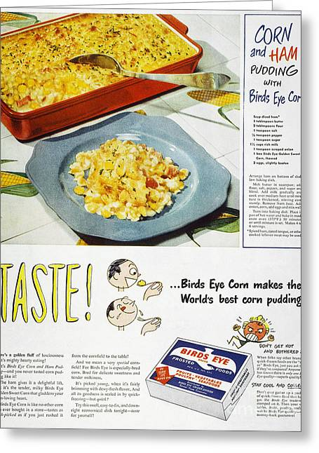 Birdseye Greeting Cards - Frozen Food Ad, 1947 Greeting Card by Granger