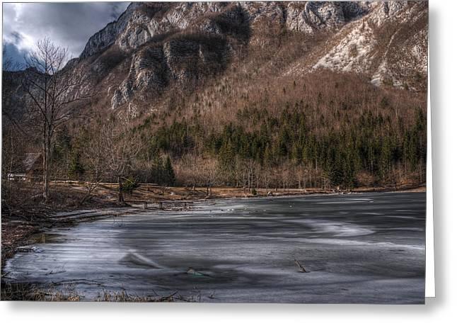 Bohinj Lake Greeting Cards - Frozen lake Greeting Card by Ivan Slosar