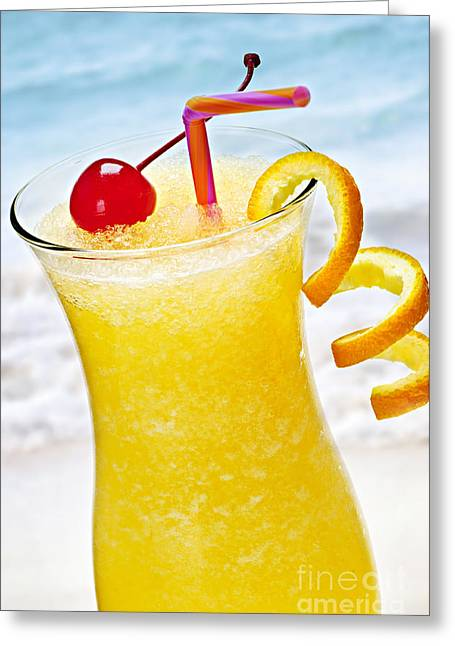 Goblet Greeting Cards - Frozen tropical orange drink Greeting Card by Elena Elisseeva