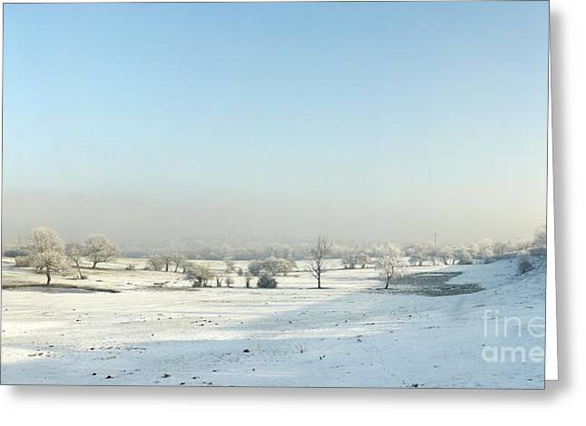 Grazing Snow Greeting Cards - Frozen Valley Greeting Card by John Chatterley