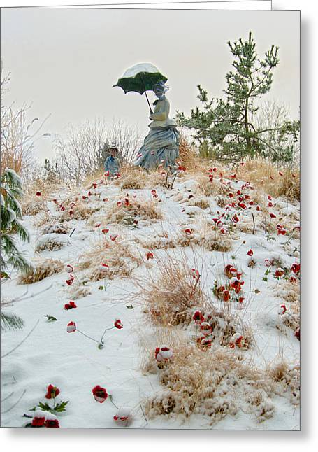 Snow Storm Sculptures Greeting Cards - Frozen Viewpoint Greeting Card by Timothy Hedges