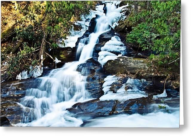 Frozen Waterfall Greeting Card by Susan Leggett