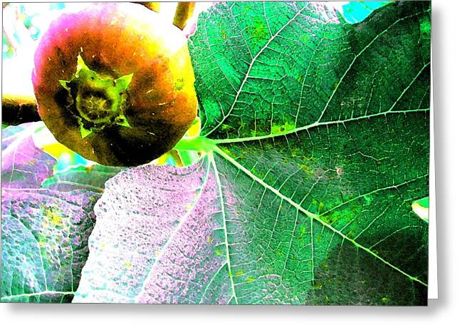 Figs Digital Art Greeting Cards - Fruit - Tree - Fig With Leaf Greeting Card by Susan Carella