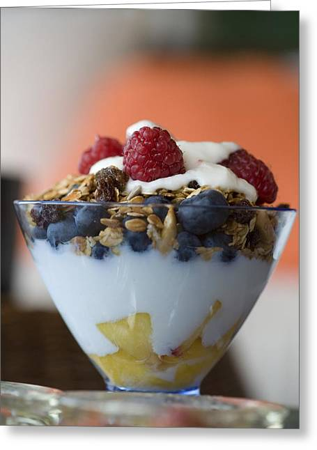 Granola Greeting Cards - Fruit And Granola In Yogurt Greeting Card by Keith Levit