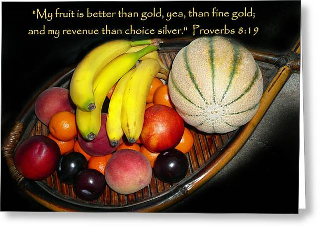 Fruit And Proverbs 8 Greeting Card by Cindy Wright