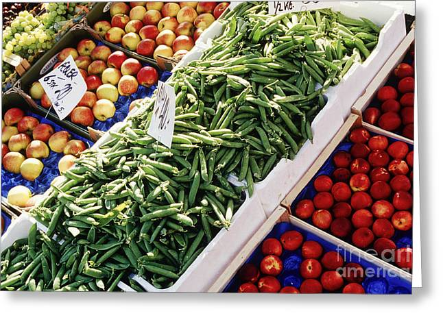 Grocery Store Greeting Cards - Fruit and Vegetable Stand Greeting Card by Jeremy Woodhouse
