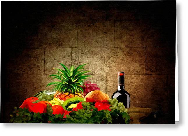 Wine-bottle Digital Greeting Cards - Fruit and Wine Greeting Card by Lourry Legarde