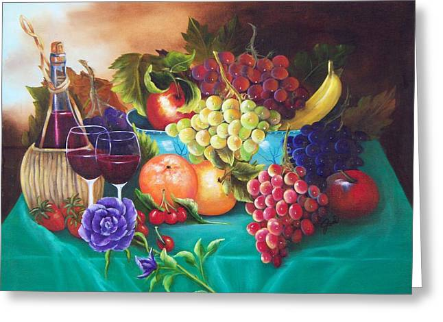 Fruit And Wine Greeting Cards - Fruit and Wine on Green Cloth Greeting Card by Joni McPherson