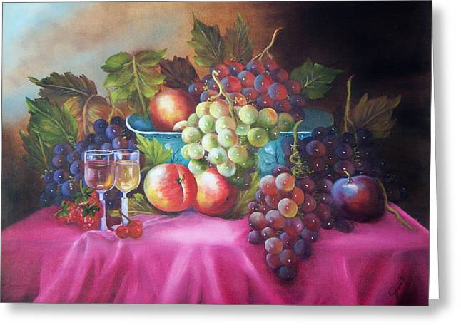 Fruit And Wine Greeting Cards - Fruit and wine on mauve cloth Greeting Card by Joni McPherson