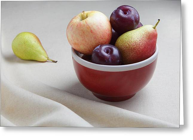 Royal Gala Greeting Cards - Fruit bowl still life Greeting Card by Paul Cowan