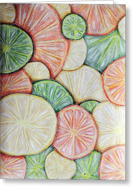 Lime Drawings Greeting Cards - Fruit Design Greeting Card by Kayla Nicole
