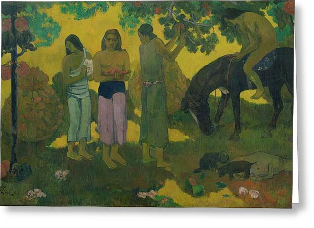 Picker Greeting Cards - Fruit Gathering Greeting Card by Paul Gauguin