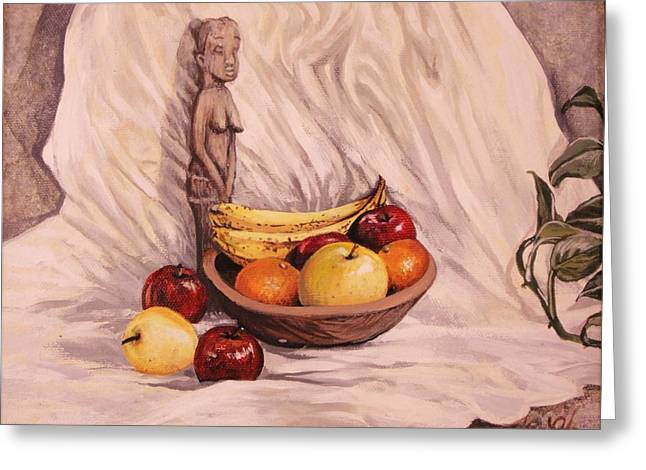 Wooden Bowls Paintings Greeting Cards - Fruit Godess Greeting Card by Carrie Auwaerter