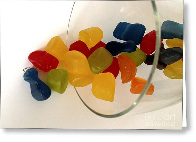 Gummies Or Jelly Sweets Greeting Cards - Fruit Gummi Candy Greeting Card by Cheryl Young