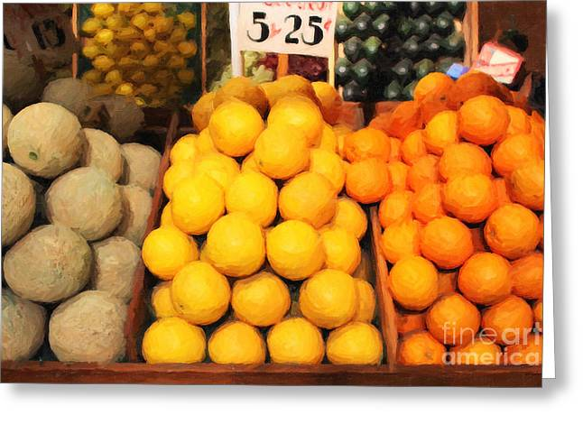 Fruit Market - Painterly - 7D17401 Greeting Card by Wingsdomain Art and Photography