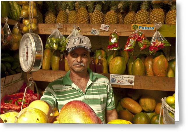 Mango Greeting Cards - Fruit Market Stand Greeting Card by Heiko Koehrer-Wagner