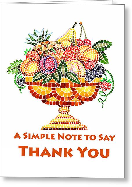 Mosaic Paintings Greeting Cards - Fruit Mosaic Thank You Note Greeting Card by Irina Sztukowski