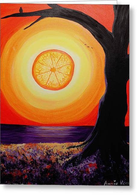 Clever Paintings Greeting Cards - Fruit of the Sun Greeting Card by Annie Keen