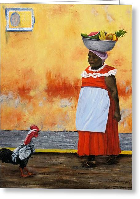Apron Greeting Cards - Fruit Seller Greeting Card by Roseann Gilmore