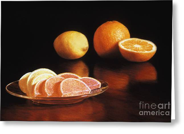Fruit Pastels Greeting Cards - Fruit Slices Greeting Card by Barbara Groff