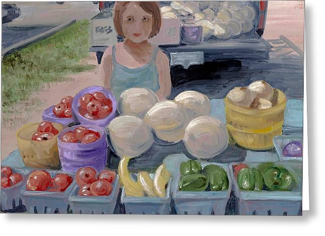 Fruit Stand Girl Greeting Card by Cathy France