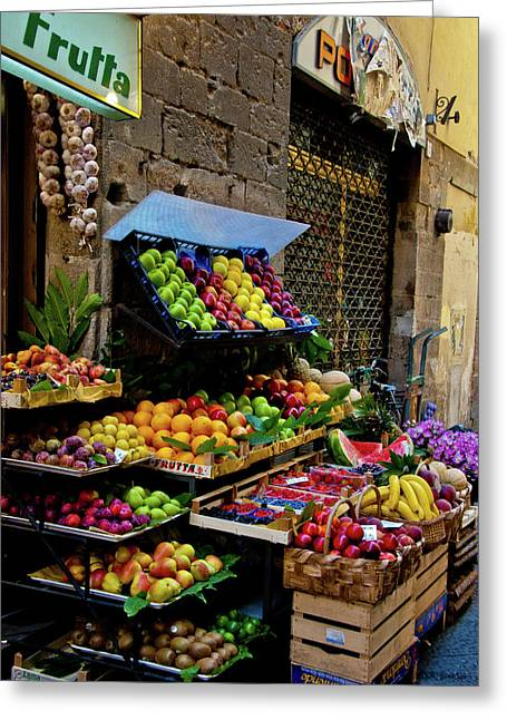 Fruit Print Greeting Cards - Fruit Stand  Greeting Card by Harry Spitz