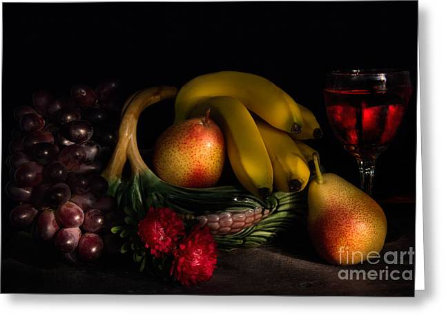 Aster Greeting Cards - Fruit Still Life With Wine Greeting Card by Ann Garrett