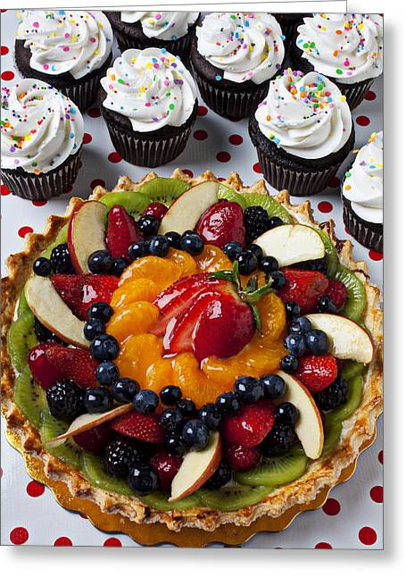 Topping Greeting Cards - Fruit tart pie and cupcakes  Greeting Card by Garry Gay