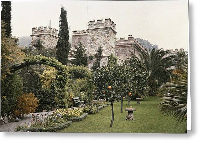 Fruit Trees Grow In The Gardens Of This Greeting Card by Maynard Owen Williams