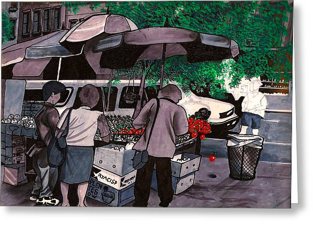 Flower Boxes Drawings Greeting Cards - Fruit Vendor Brooklyn NYC Greeting Card by Al Goldfarb