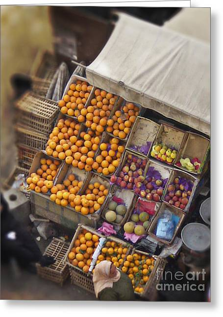 Melon Digital Greeting Cards - Fruit Vendor in the Kahn Greeting Card by Mary Machare