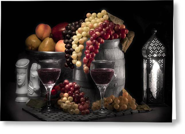 Cask Greeting Cards - Fruity Wine Still Life Selective Coloring Greeting Card by Tom Mc Nemar