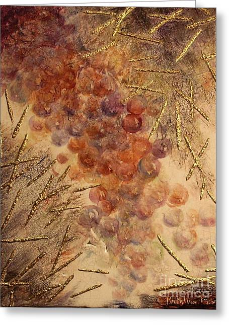 Purple Grapes Mixed Media Greeting Cards - Frutto della Terra Greeting Card by Kathleen Pio
