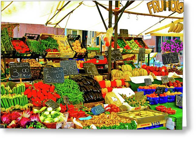 Fruit Print Greeting Cards - Fruttolo Italian Vegetable Stand Greeting Card by Harry Spitz