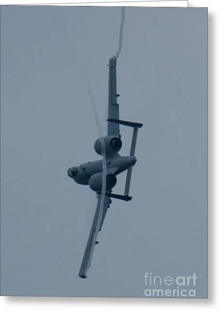 Ft Af 81 0967 A 10 Thunderbolt II Rear Bank Shot With Vapor Greeting Card by Henry Plumley Jr